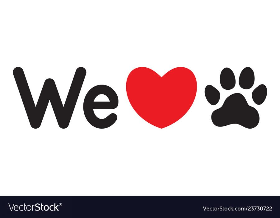 We love animals (dogs). Symbolic inscription. Dogs friendly. Icon. Vector illustration.